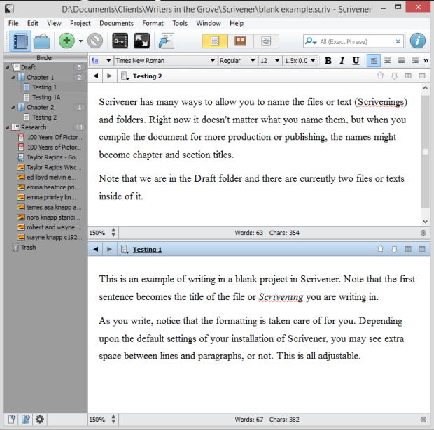 Scrivener - Split Screen view horizontal - Lorelle VanFossen