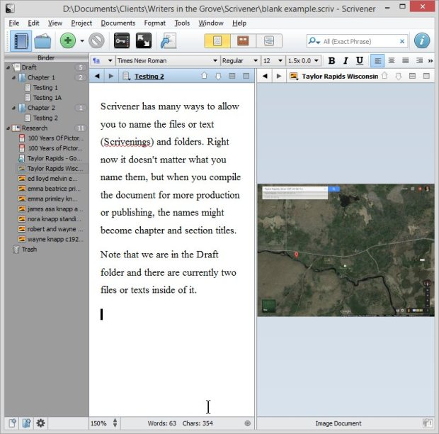 Scrivener - Split Screen with Map in Research - Lorelle VanFossen