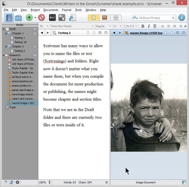 Scrivener - Split Screen with Photo of Wayne Knapp in Research - Lorelle VanFossen