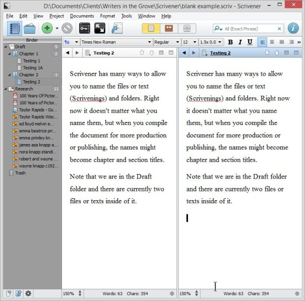 Scrivener - Split Screen with the same document in two screens - Lorelle VanFossen