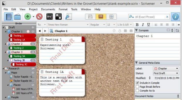 Scrivener - Status watermarks on Corkboard view - Lorelle VanFossen