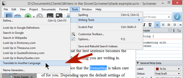 Scrivener - Tools - Options - Writing Tools - Translate to Another Language