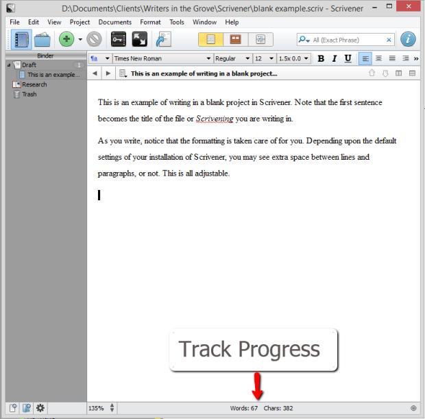 Scrivener - Track progress as you write - Lorelle VanFossen