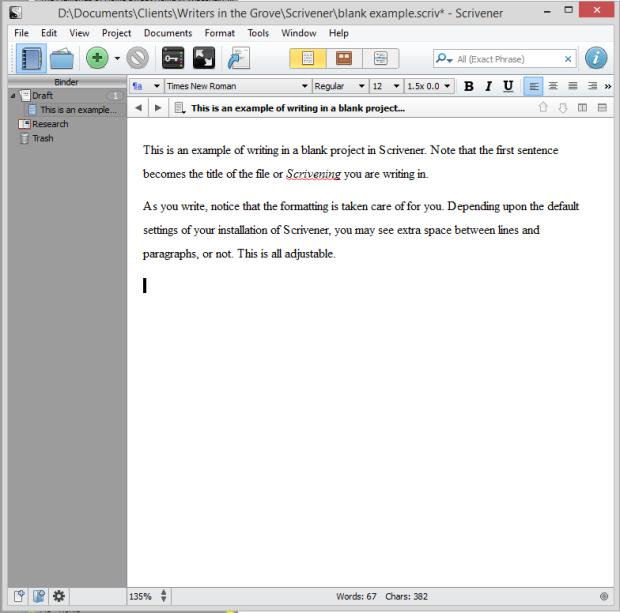 Scrivener - Writing in a blank Scrivening or file in a blank project - Lorelle VanFossen
