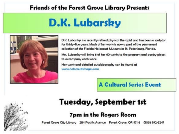 Diana Lubarsky Presentation of Sculpture and Poetry at Forest Grove Library - Flyer.