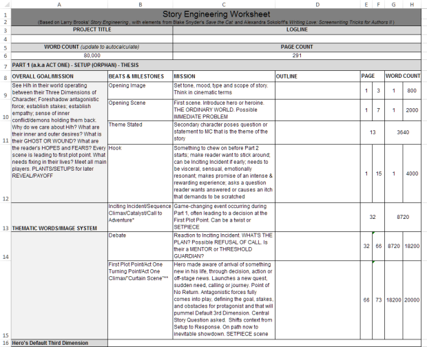Angela Quarles - Story Engineering Worksheet screenshot from Excel.
