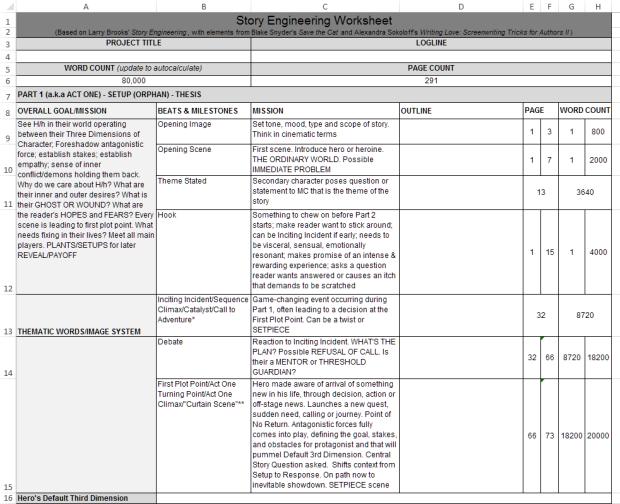 Angela Quarles - Story Engineering Worksheet screenshot from Excel.