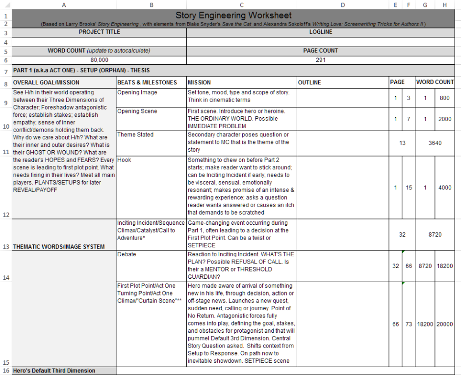 Angela Quarles - Story Engineering Worksheet screensot from Excel.