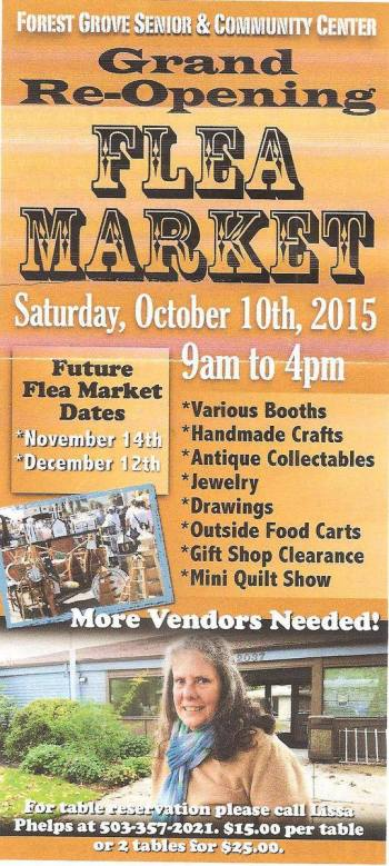 Forest Grove Community and Senior Center Flea Market Poster 2015