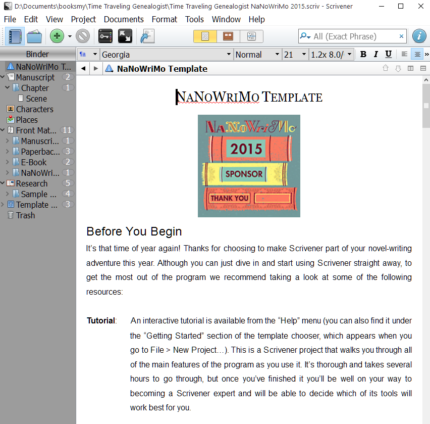 NaNoWriMo Novel Template for Scrivener | Writers in the Grove
