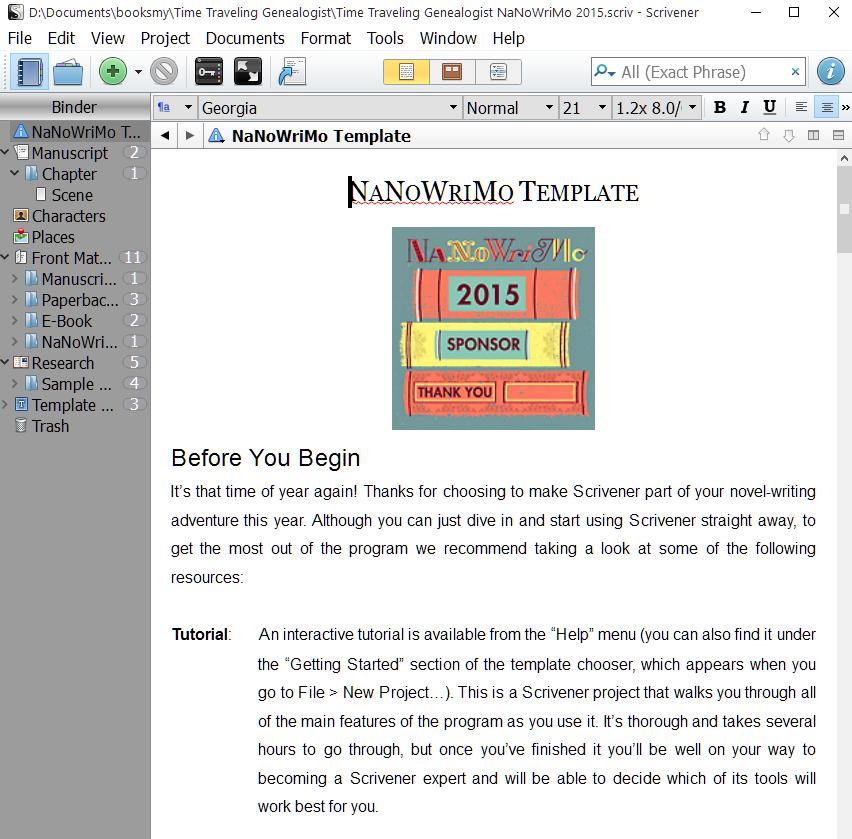 NaNoWriMo Novel Template Instructions.