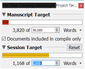 NaNoWriMo Novel Template Project and Session Targets.