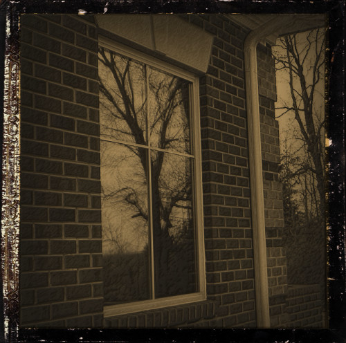 Brick house with  reflection of trees in window.