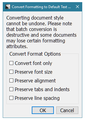 Scrivener - Convert Formatting to Default Text