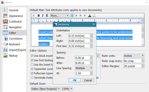 Scrivener - Default Main Text Attributes - Line Spacing - More Screen