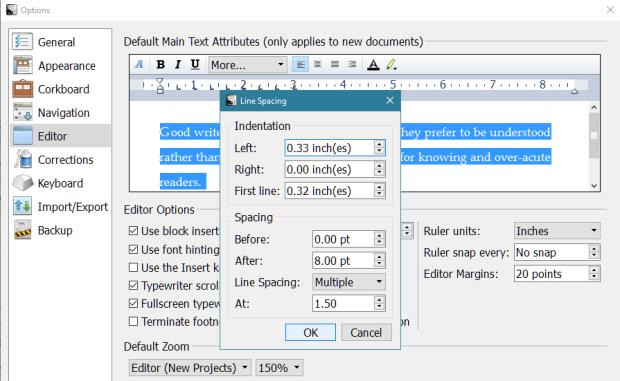 Scrivener - Default Main Text Attributes - Line Spacing - More Screen