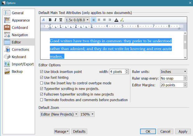 Scrivener - Options Editor Screen