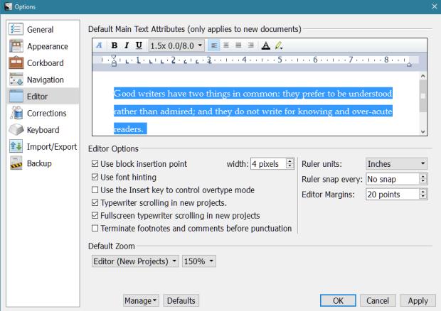 Scrivener - Options Editor Screen