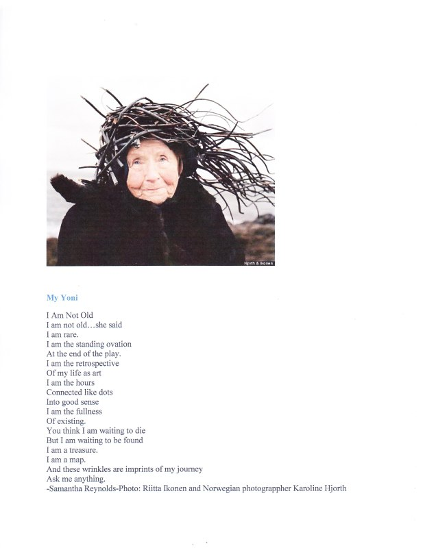 Poem by Samantha Reynolds with image of an old woman.