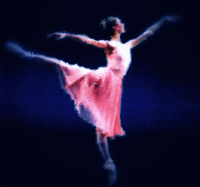 Texturized art effect of ballet dancer on pointe in arabesque.