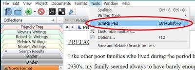 Scrivener - Scratch Pad on Tools Menu - Writers in the Grove.