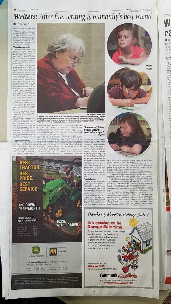News - Writers in the Grove - News Time Article on Local Pen Pals April 2017 Forest Grove Oregon (2)