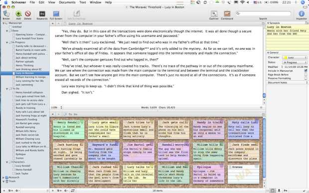 Scrivener example from Autostraddle