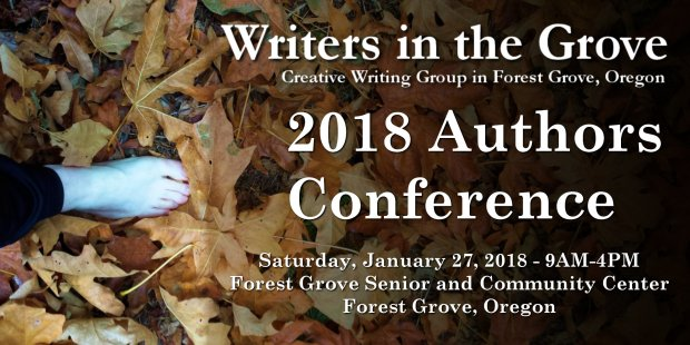 Foot steps on leaves and announces Writers in the Grove 2018 Author Conference.