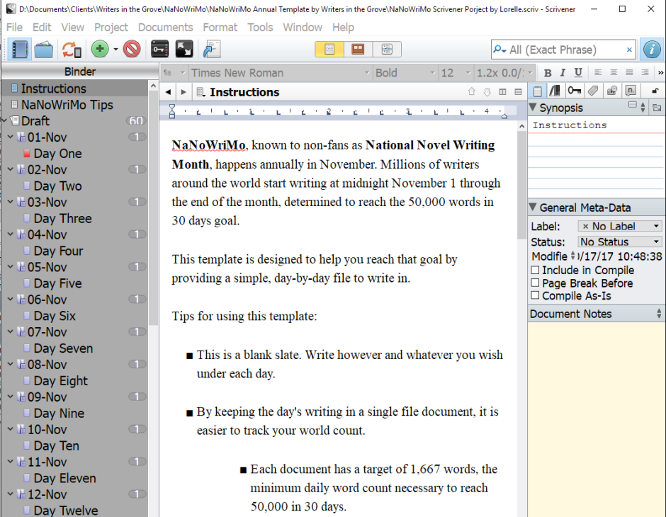 NaNoWriMo Writers in the Grove Scrivener Project Template